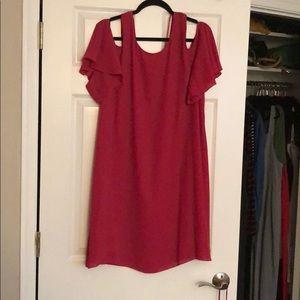 Hot pink cold shoulder dress